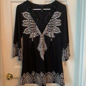 INC International Concepts Black and White  Top